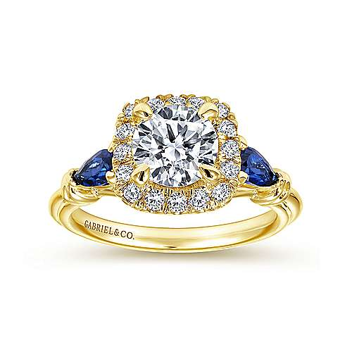 18k Yellow Gold Diamond  And Sapphire Halo Engagement Ring angle 5