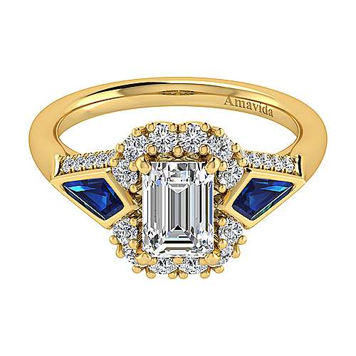 18k Yellow Gold Emerald Cut Halo