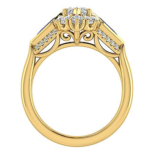 18k Yellow Gold Diamond  And Sapphire Halo Engagement Ring angle 2