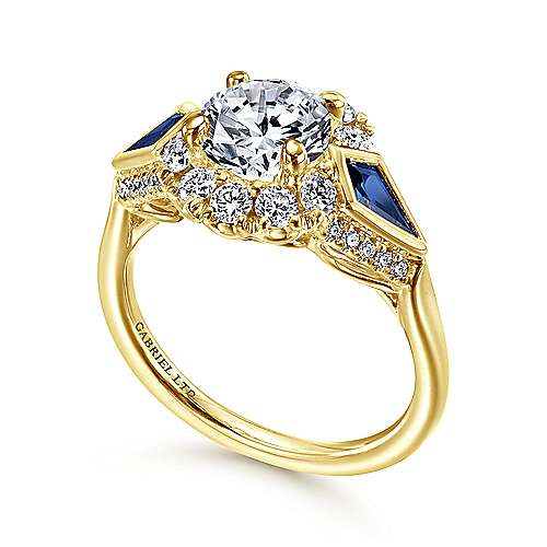 18k Yellow Gold Diamond  And Sapphire Halo Engagement Ring angle 3