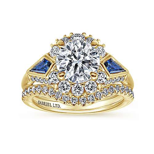 18k Yellow Gold Diamond  And Sapphire Halo Engagement Ring angle 4