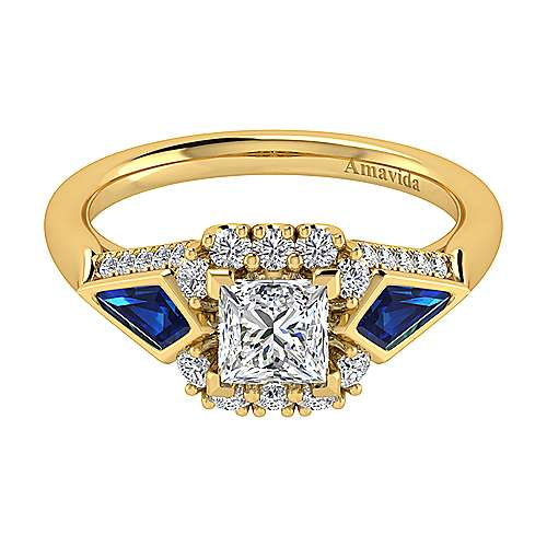 18k Yellow Gold Diamond  And Sapphire Halo Engagement Ring angle 1