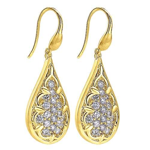 18k Yellow Gold Diamond Drop Earrings angle 2