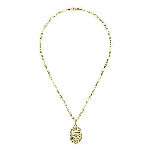 18k Yellow Gold Diamond Fashion Necklace angle 2
