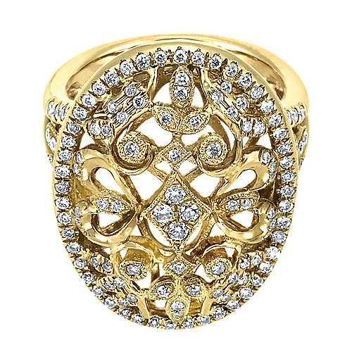 18k Yellow Gold Diamond Filigree Oval Fashion