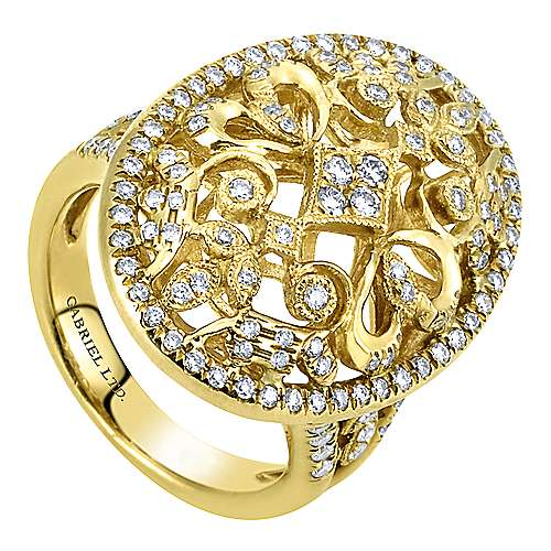 18k Yellow Gold Diamond Filigree Oval Fashion Ladies