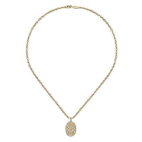 18k Yellow Gold Diamond Filigree Oval Fashion Necklace angle 2