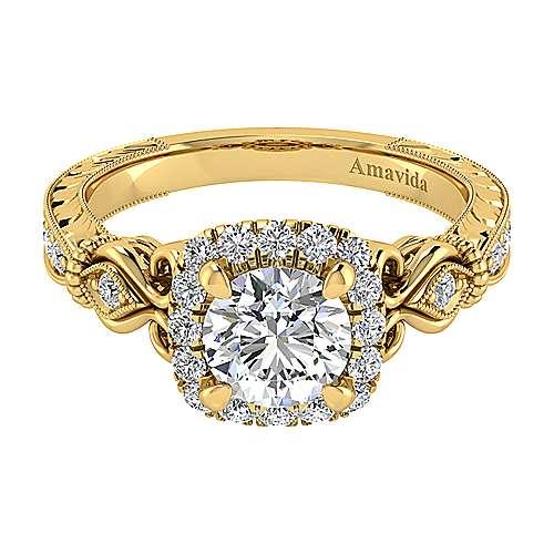 Gabriel - 18k Yellow Gold Round Halo Engagement Ring