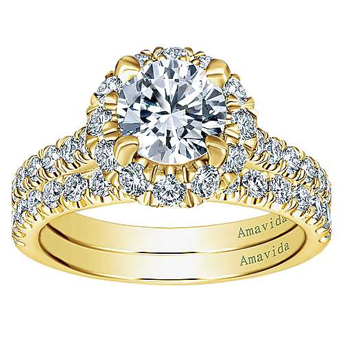 18k Yellow Gold Diamond Halo Engagement Ring angle 4