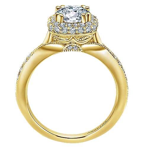 18k Yellow Gold Diamond Halo Engagement Ring angle 2