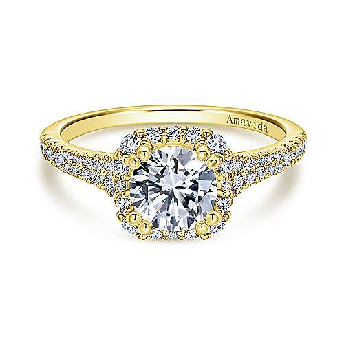 18k Yellow Gold Diamond Halo Engagement Ring angle 1
