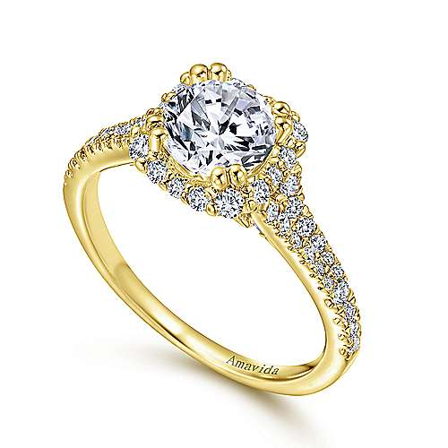 18k Yellow Gold Diamond Halo Engagement Ring angle 3