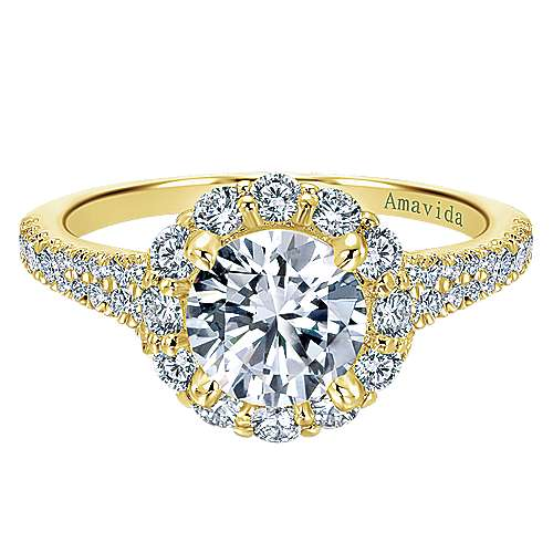 Gabriel - 18k Yellow Gold Contemporary Engagement Ring