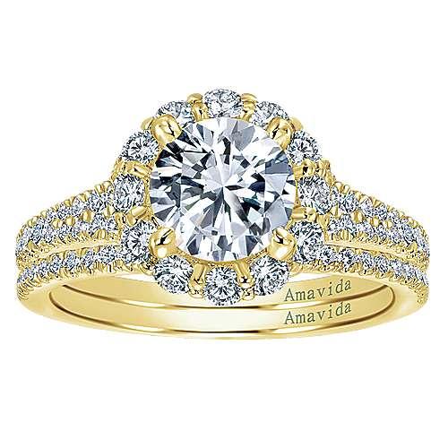 18k Yellow Gold Diamond Halo Engagement Ring angle 4