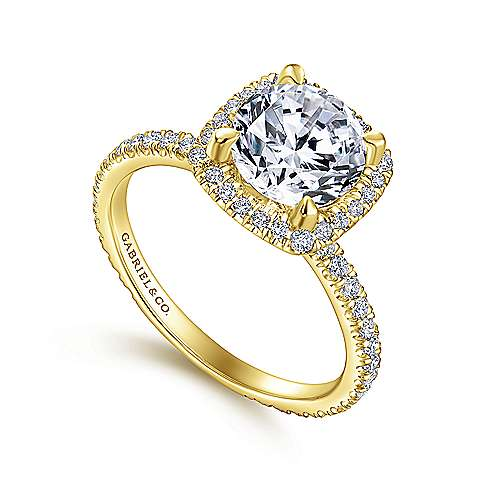 18k Yellow Gold Diamond Halo Engagement Ring angle 3