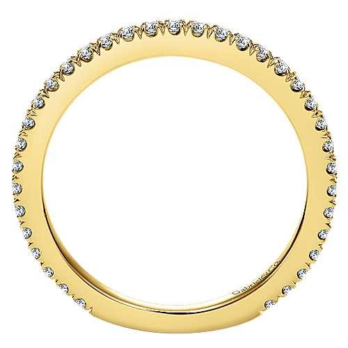 18k Yellow Gold Diamond Straight Wedding Band angle 2