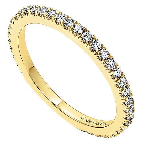 18k Yellow Gold Diamond Straight Wedding Band angle 3