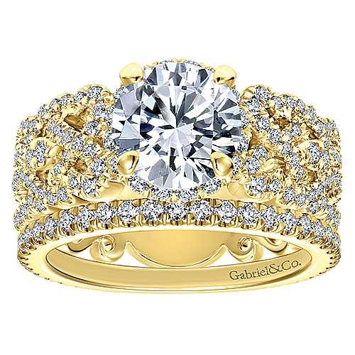 18k Yellow Gold Diamond Straight Wedding Band angle 4