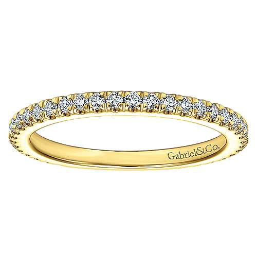 18k Yellow Gold Diamond Straight Wedding Band angle 5