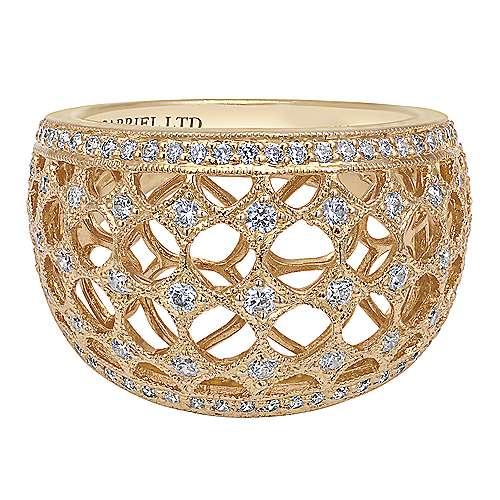 Gabriel - 18k Yellow Gold Mediterranean Wide Band Ladies' Ring