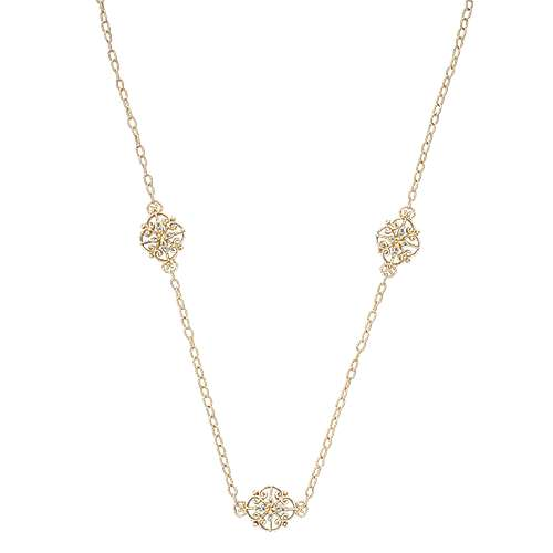 18k Yellow Gold Endless Diamonds Station Necklace angle 1