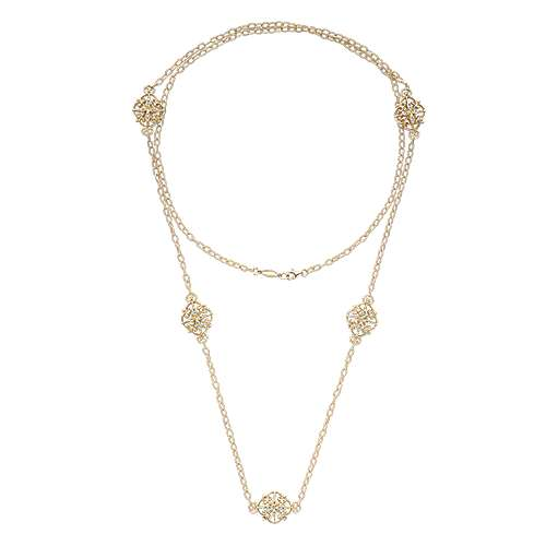 18k Yellow Gold Endless Diamonds Station Necklace angle 2