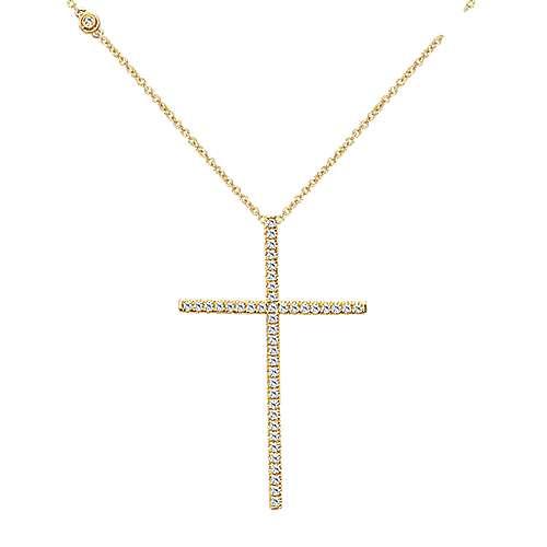 18k Yellow Gold Faith Cross Necklace angle 1
