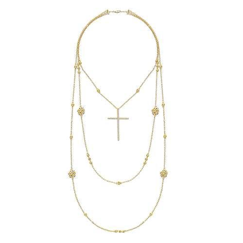 18k Yellow Gold Faith Cross Necklace angle 2