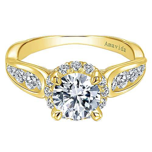 Gabriel - 18k Yellow Gold Round Halo Engagement Ring