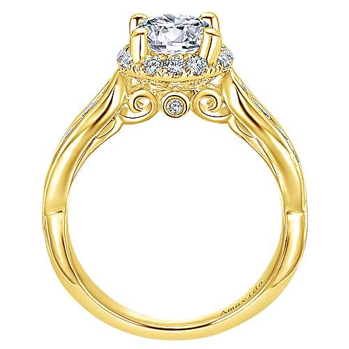 18k Yellow Gold Round Halo Engagement Ring angle 2