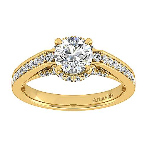 18k Yellow Gold Round Halo Engagement Ring angle 5