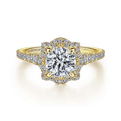 18k Yellow Gold Round Halo Engagement Ring angle 1