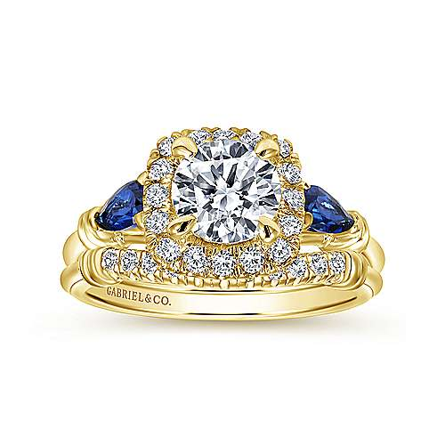 18k Yellow Gold Round Halo Engagement Ring angle 4