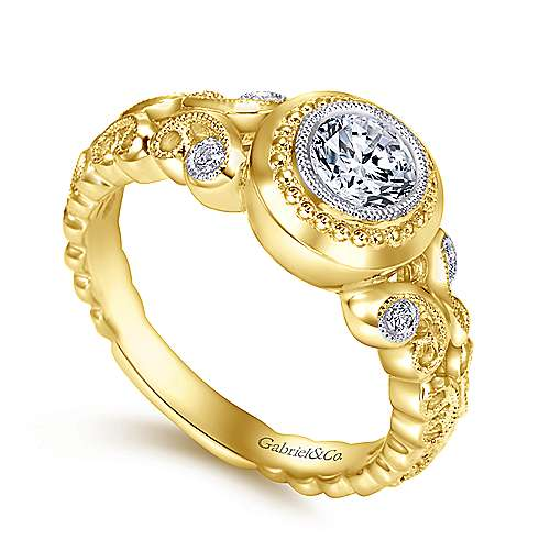 18k Yellow Gold Round Straight Engagement Ring angle 3