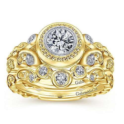 18k Yellow Gold Round Straight Engagement Ring angle 4