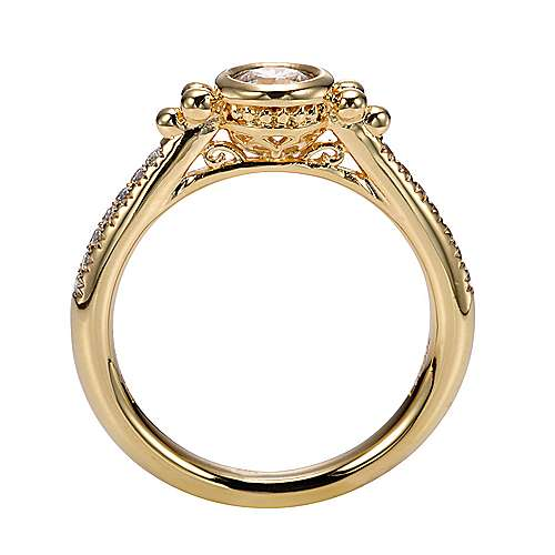 18k Yellow Gold Round Straight Engagement Ring angle 2