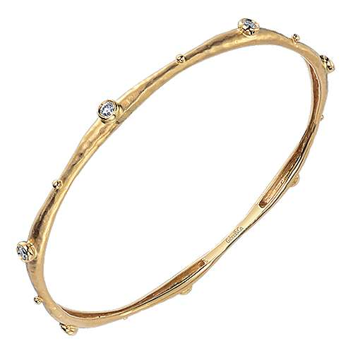 18k Yellow Gold Stackable Bangle angle 2