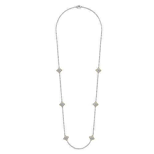 18k Yellow and White Gold Diamond By The Yard Necklace angle 2