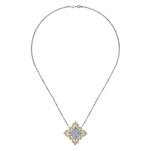 18k Yellow and White Gold Diamond Cluster Fashion Necklace angle 2
