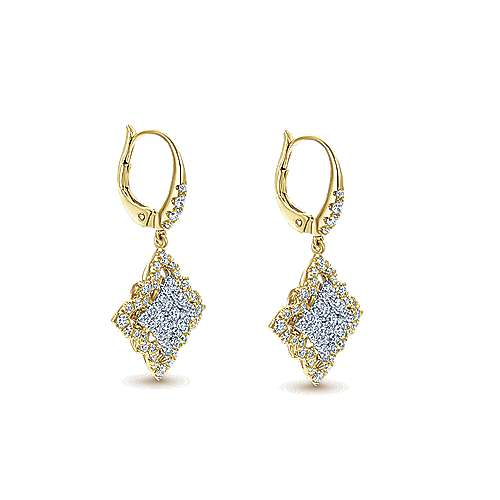 18k Yellow and White Gold Pave Diamond Drop Earrings angle 2