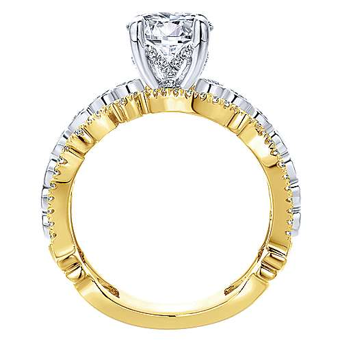 18k Yellow/white Gold Diamond Free Form Engagement Ring angle 2