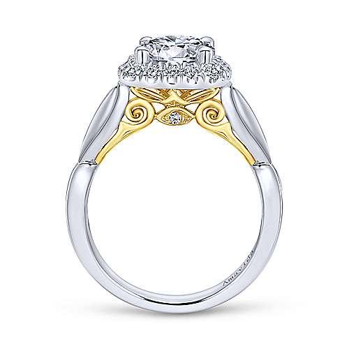 18k Yellow/white Gold Diamond Halo Engagement Ring angle 2