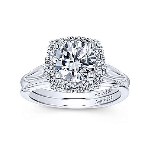 18k Yellow/white Gold Diamond Halo Engagement Ring angle 4