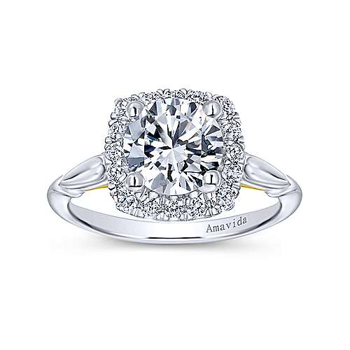 18k Yellow/white Gold Diamond Halo Engagement Ring angle 5