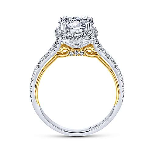 18k Yellow/white Gold Diamond Halo Engagement Ring angle 2