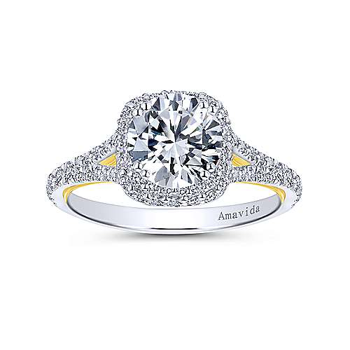 18k Yellow/white Gold Diamond Halo Engagement Ring angle 5