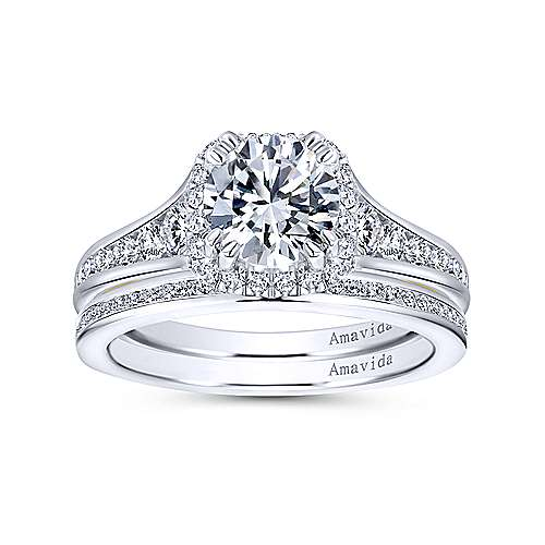 18k Yellow/white Gold Diamond Halo Engagement Ring angle 4