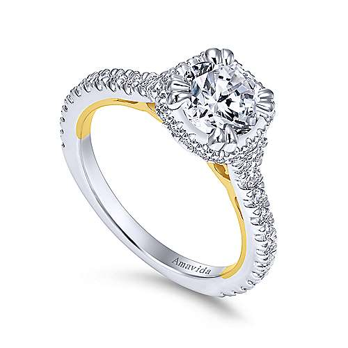 18k Yellow/white Gold Diamond Halo Engagement Ring angle 3
