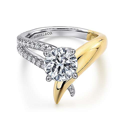 Gabriel - 18k Yellow/white Gold Round Split Shank Engagement Ring