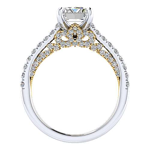 18k Yellow/white Gold Diamond Straight Engagement Ring angle 2
